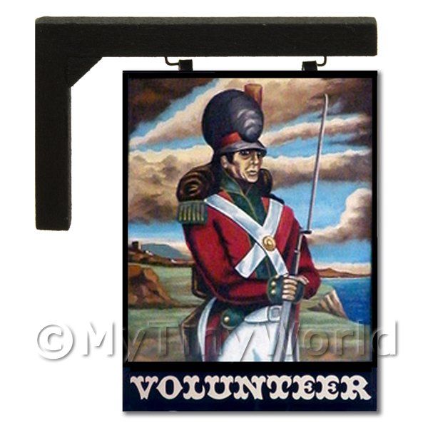 Dolls House Miniature  | Wall Mounted Dolls House Pub / Tavern Sign - The Volunteer