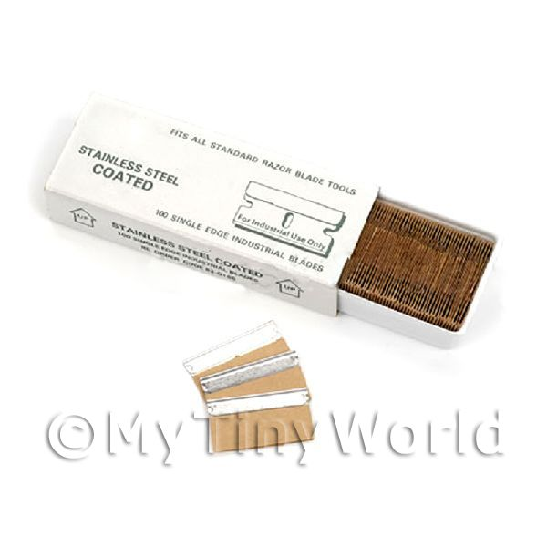 Dolls House Miniature  | 100 Ultra Fine 0.2mm Single Edged Blade