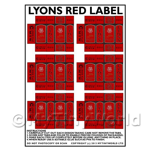 Dolls House Miniature Packaging Sheet of 6 Lyons Red Label