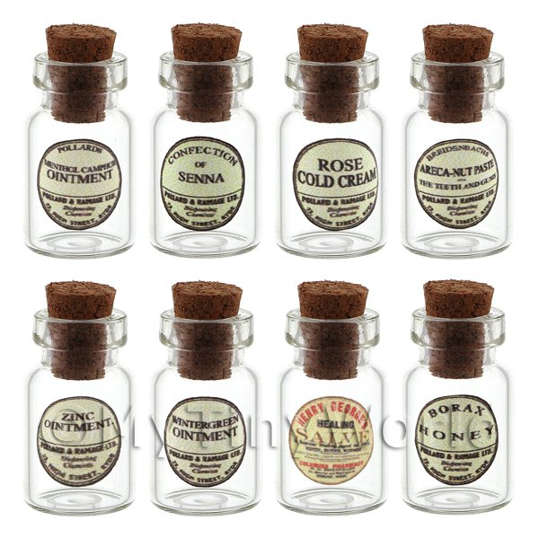 Set of 8 Glass Ointment Jars (Style 1)