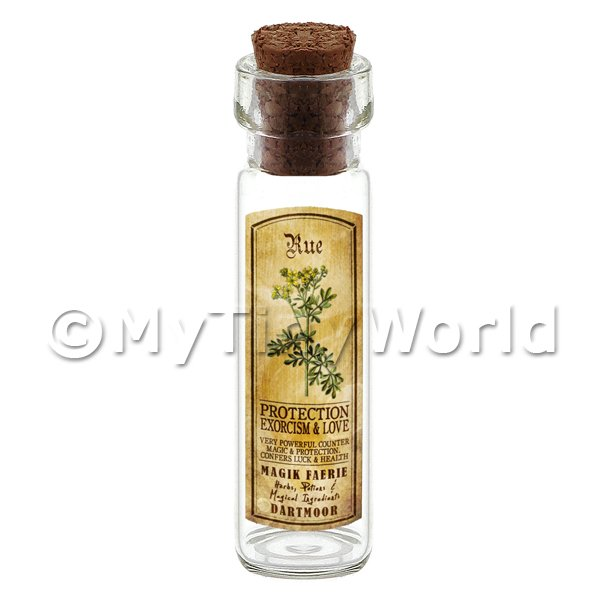Dolls House Apothecary Rue Herb Long Colour Label And Bottle