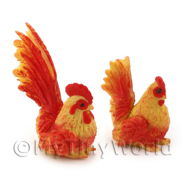 Dolls House Miniature Red And Yellow Hen And Cockerel Set