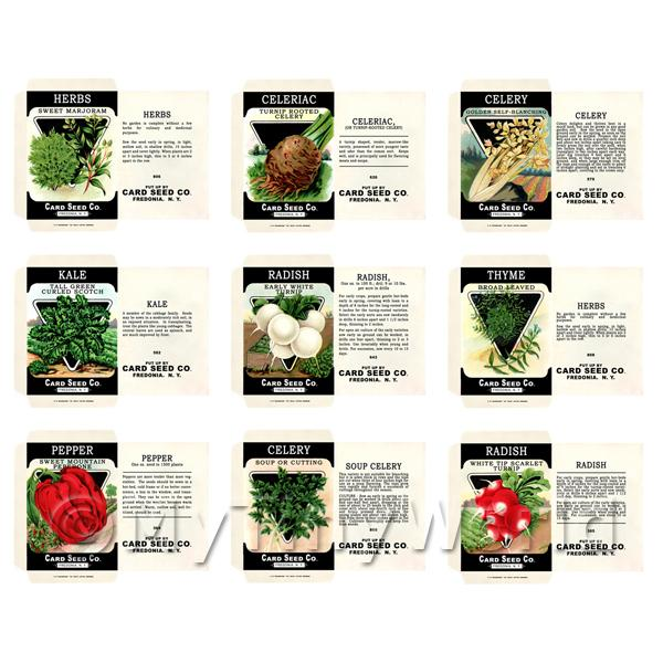Dolls House Miniature  | Set of 9 Dolls House Miniature Seed Packets (SPS07)