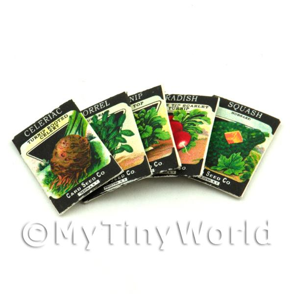 Dolls House Miniature  | Set of 5 Dolls House Miniature Seed Packets (SPMS11)