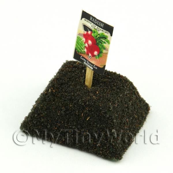 Dolls House Miniature White Tipped Radish Seed Packet With A Stick