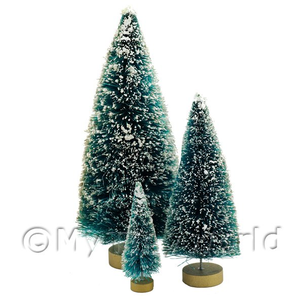 Dolls House Small, Medium And Large Snow Covered Christmas Trees