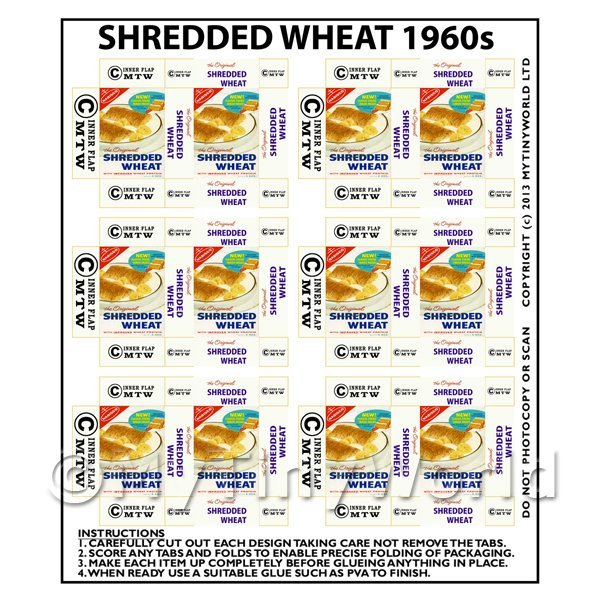 Dolls House Miniature Packaging Sheet of 6 Shredded Wheat 1960s