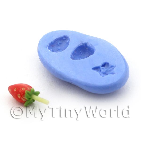 Dolls House Miniature 3 Part Strawberry Reusable Silicone Mould