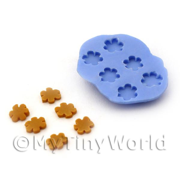 Dolls House Miniature 6 Piece Flower Biscuit Silicone Mould