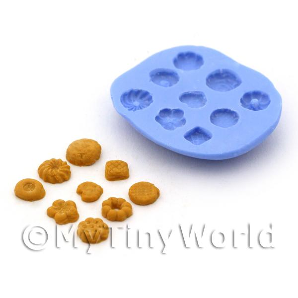 Dolls House Miniature  | Dolls House Miniature 9 Piece Shortbread Biscuit Silicone Mould