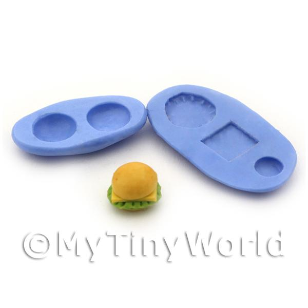 Dolls House Miniature 5 Part Cheeseburger Reusable Silicone Mould