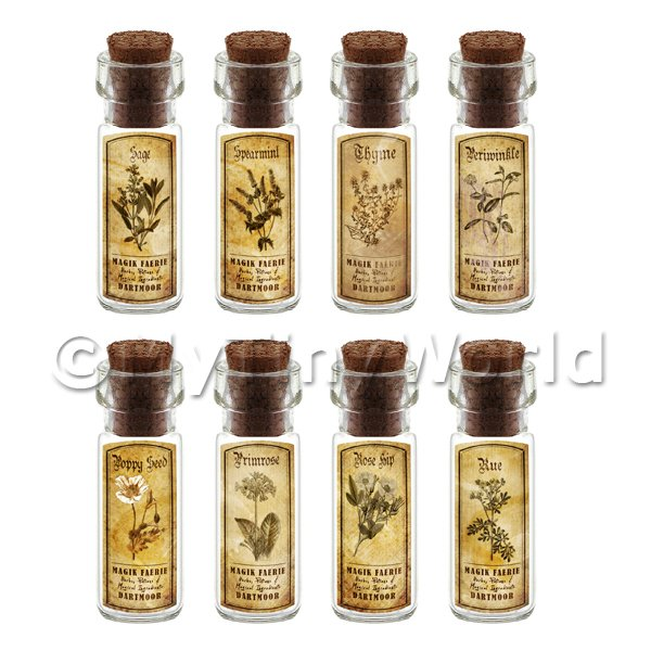 Dolls House Apothecary Short Herb Sepia Label And Bottle Set 8
