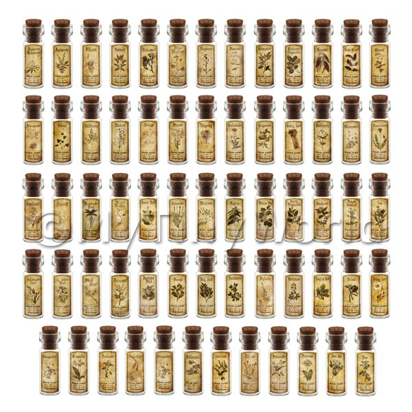 Dolls House Miniature  | Dolls House Apothecary Set Of 64 Herb Short Sepia Label And Bottles