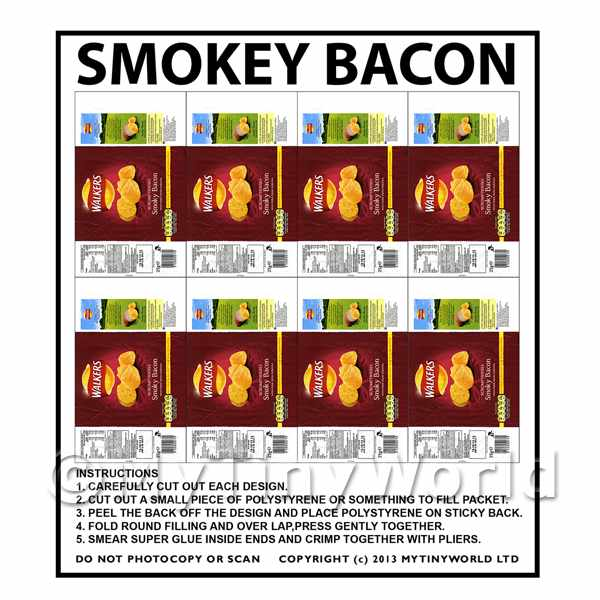 Dolls House Miniature Packaging Sheet of 8 Walkers Smokey Bacon Crisps