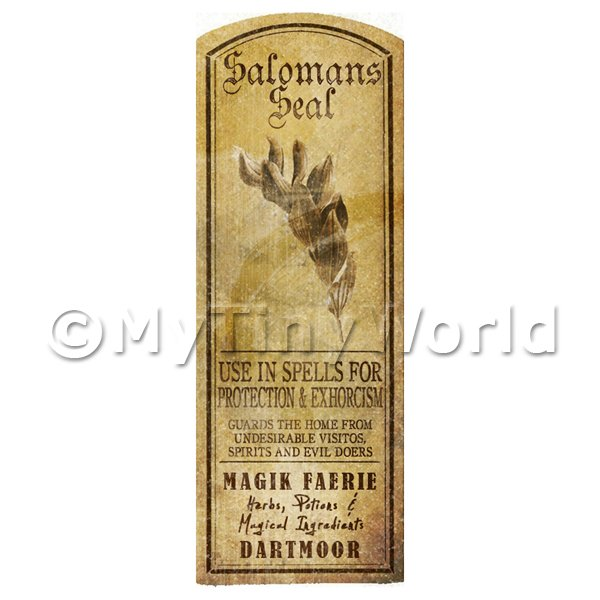 Dolls House Miniature  | Dolls House Herbalist/Apothecary Salomans Seal Herb Long Sepia Label