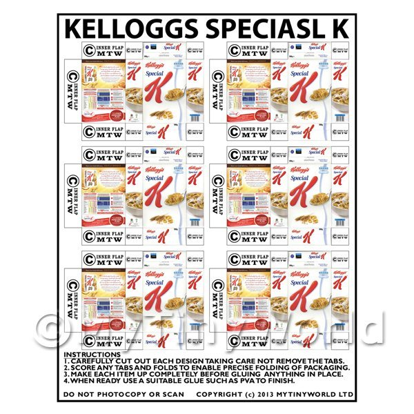 Dolls House Miniature Packaging Sheet of 6 Kelloggs Special K