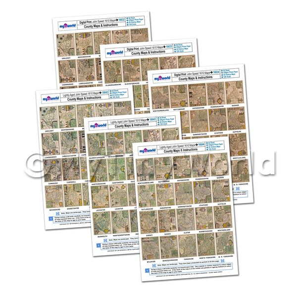 Dolls House Miniature  | Dolls House 6 x Aged John Speed UK County Maps A4 Value Sheets (120 Maps)