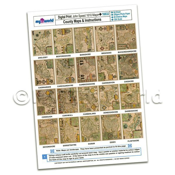 Dolls House 20 Aged John Speed UK County Maps A4 Value Sheet 1
