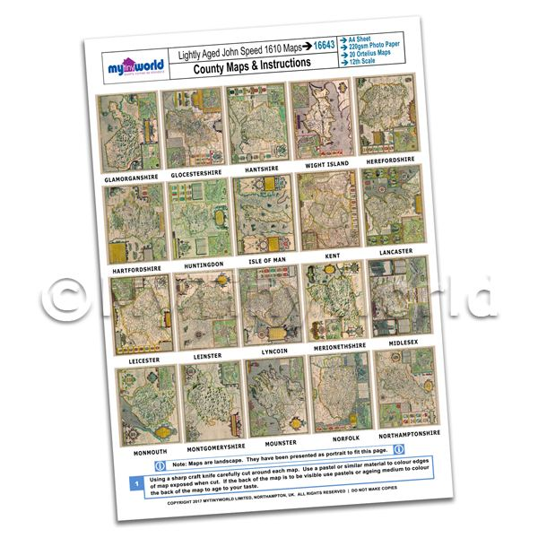 Dolls House 20 John Speed UK County Maps A4 Value Sheet 2