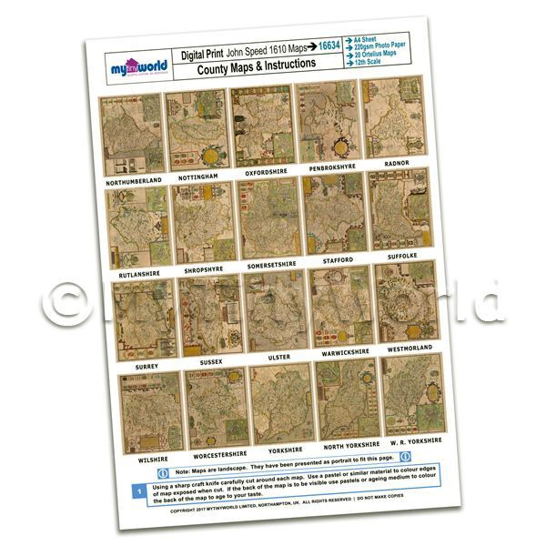 Dolls House Miniature  | Dolls House 20 Aged John Speed UK County Maps A4 Value Sheet 3