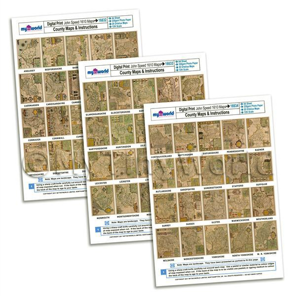 Dolls House Miniature  | Dolls House 3 x Aged John Speed UK County Maps A4 Value Sheets (60 Maps)