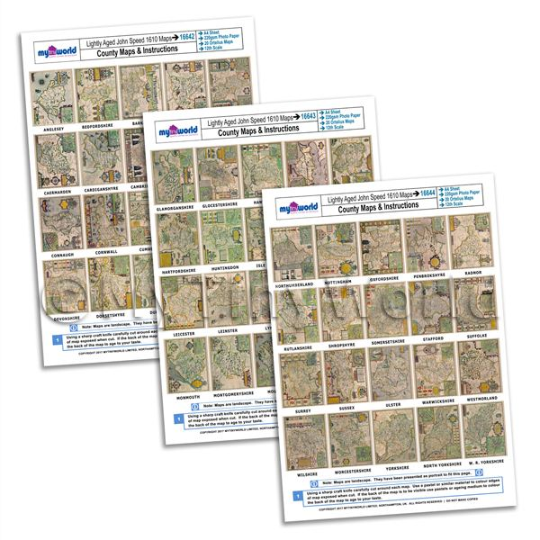Dolls House Miniature  | Dolls House 3 x John Speed UK County Maps A4 Value Sheets (60 Maps)