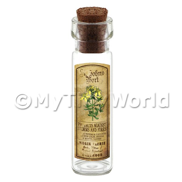 Dolls House Apothecary St Johns Wort Herb Long Colour Label And Bottle