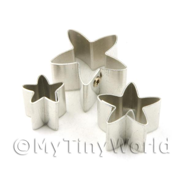 Dolls House Miniature  | Set of 3 Assorted Size Metal Star Sugar Craft Cutters