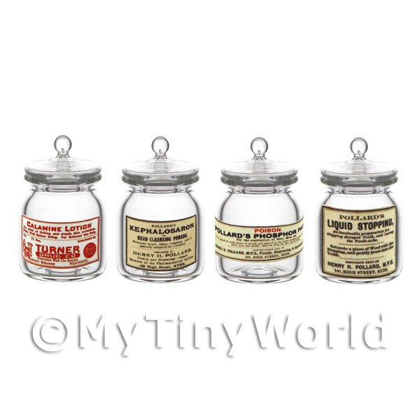 Dolls House Miniature  | Set of 4 Miniature Glass Apothecary Storage Jar