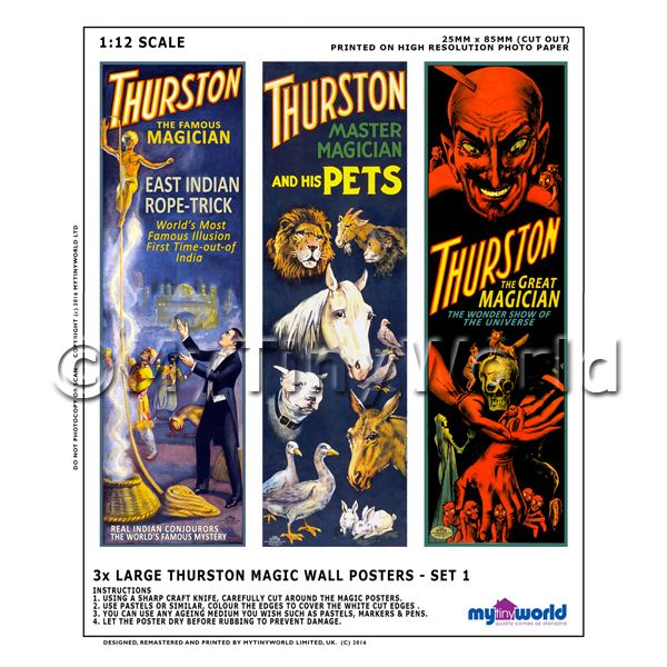 1/12 Scale Dolls House Miniatures  | Dolls House Miniature Thurston Magic Poster Set 1 - 3 Long Posters