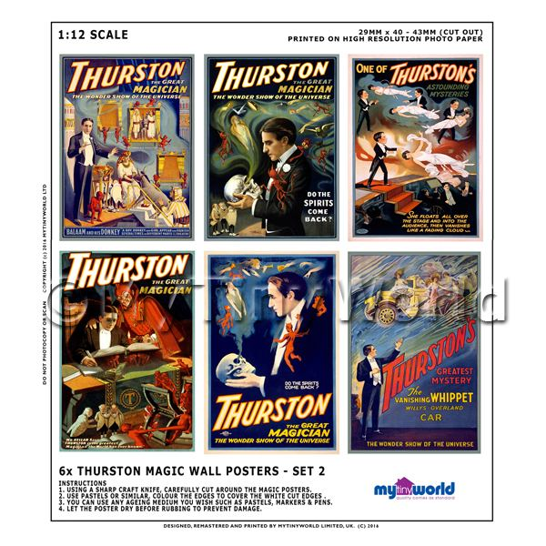 1/12 Scale Dolls House Miniatures  | Dolls House Miniature Thurston Magic Poster Set 2 - 6 Posters
