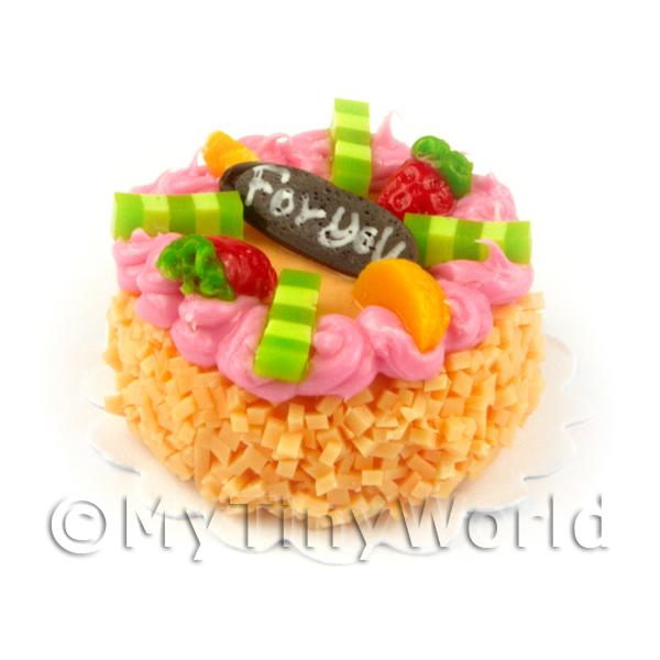 Dolls House Handmade Tiny 25mm Orange Iced Round Cake
