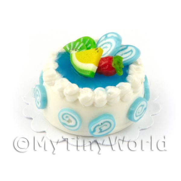 Dolls House 25mm White Iced Blue Lagoon Topped Cake