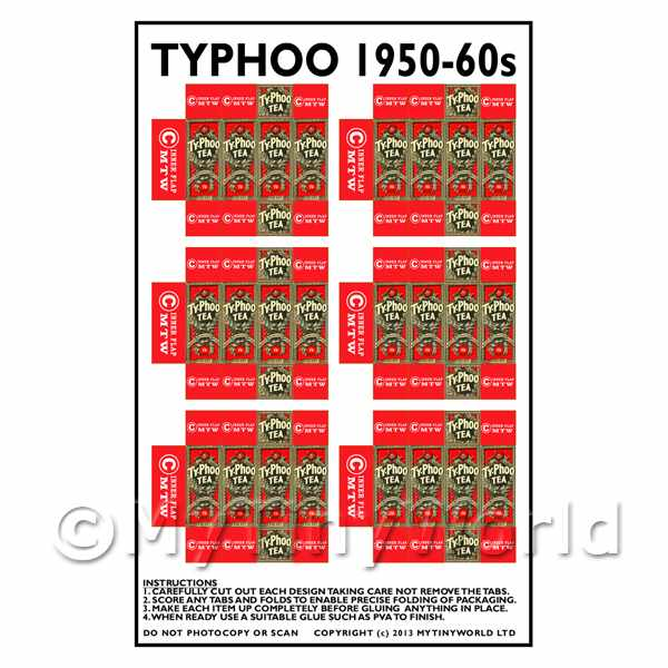 Dolls House Miniature Packaging Sheet of 6 Typhoo 1950 - 60s