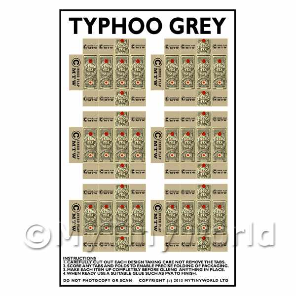 Dolls House Miniature  | Dolls House Miniature Packaging Sheet of 6 Typhoo Grey