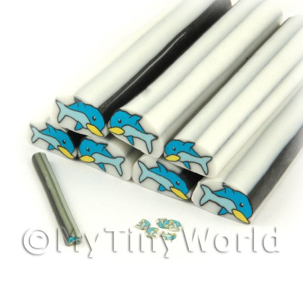 Unbaked Dolphin Cane Nail Art And Jewellery UNC04