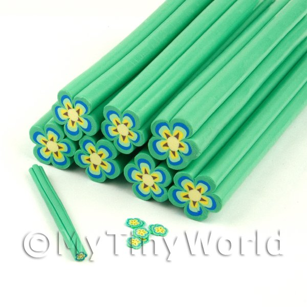 Dolls House Miniature  | Unbaked Green Flower Cane Nail Art And Jewellery UNC07