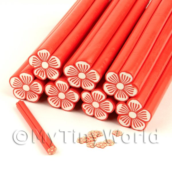 Unbaked Red Flower Cane Nail Art And Jewellery UNC11