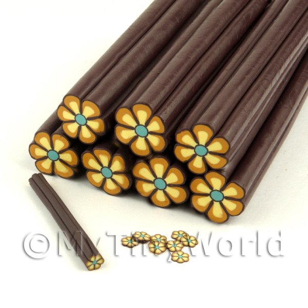 Dolls House Miniature  | Unbaked Brown Flower Cane Nail Art And Jewellery UNC12