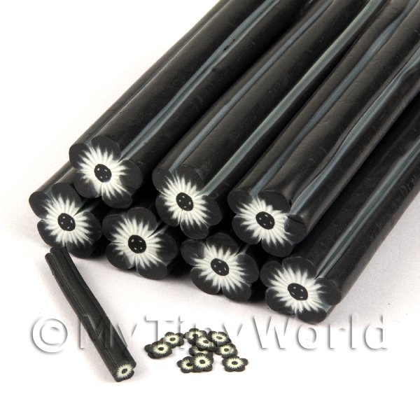 Unbaked Black Flower Cane Nail Art And Jewellery UNC13