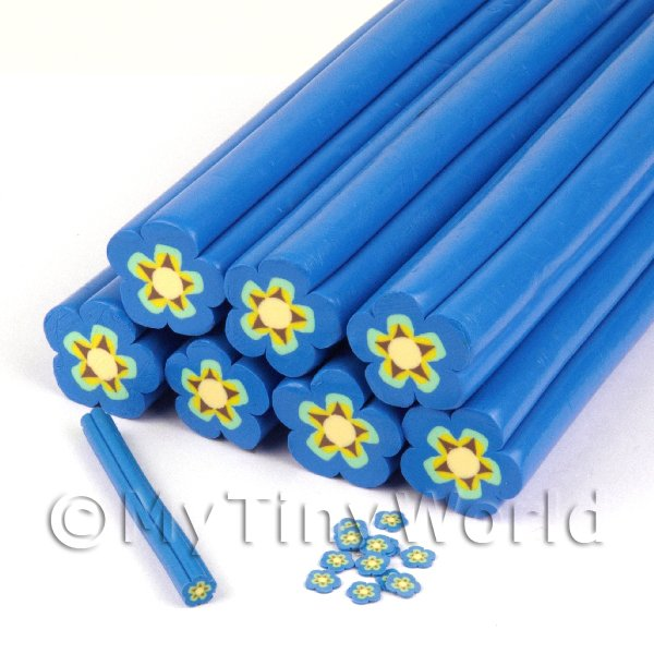 Dolls House Miniature  | Unbaked Blue Flower Cane Nail Art And Jewellery UNC21