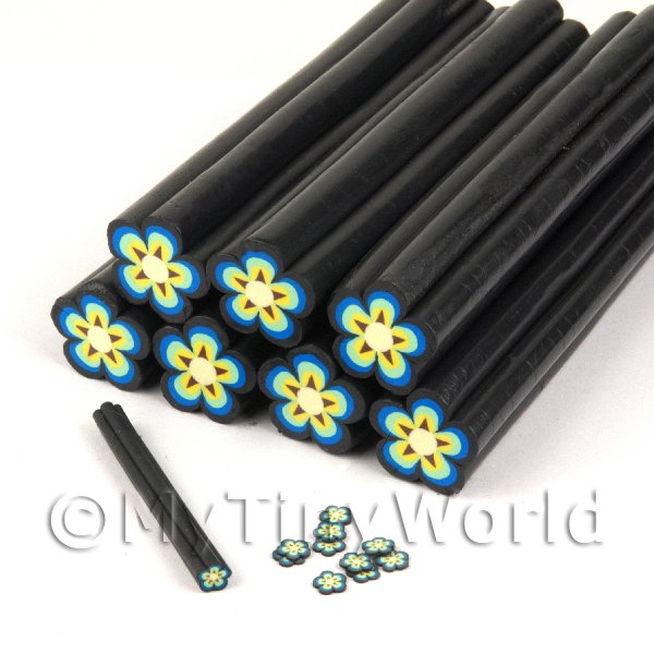 Dolls House Miniature  | Unbaked Yellow Flower Cane Nail Art And Jewellery UNC23