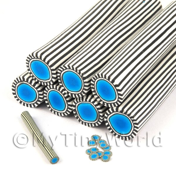 Unbaked Blue Poker Chip Cane Nail Art And Jewellery UNC35