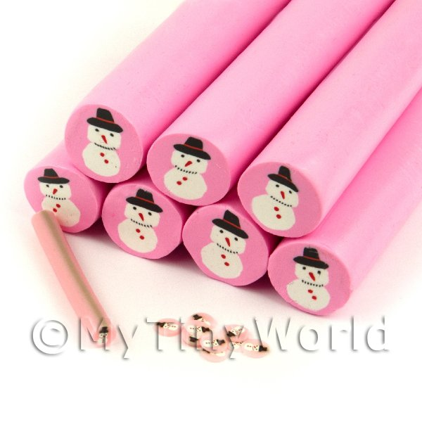 Unbaked Christmas Snowman Cane Nail Art And Jewellery UNC45