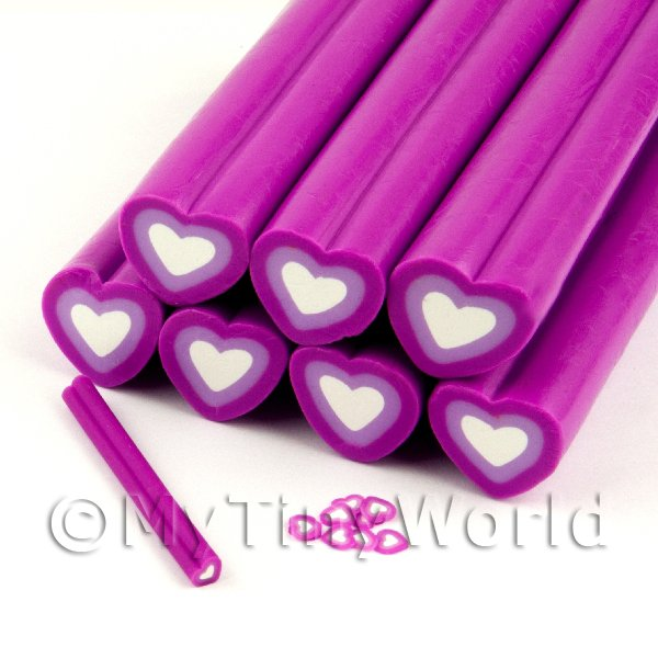 Unbaked Purple Heart Cane Nail Art And Jewellery UNC67