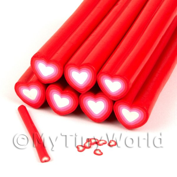Unbaked Red Heart Cane Nail Art And Jewellery UNC68