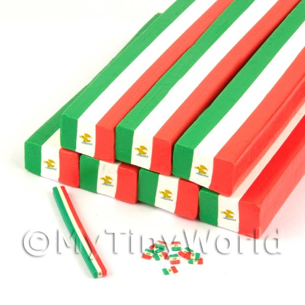 Unbaked Mexican Flag Cane Nail Art And Jewellery UNC75