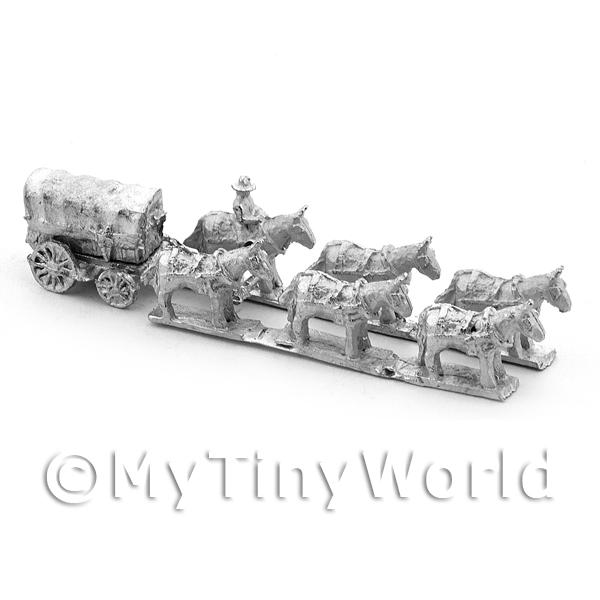 Dolls House Unpainted Wagon With 6 Horses