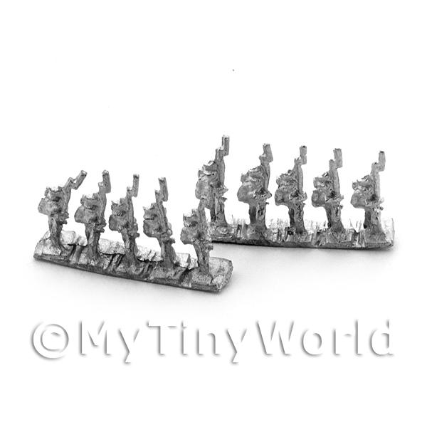 10 Dolls House Unpainted British Belgic Shako Marching Infantry