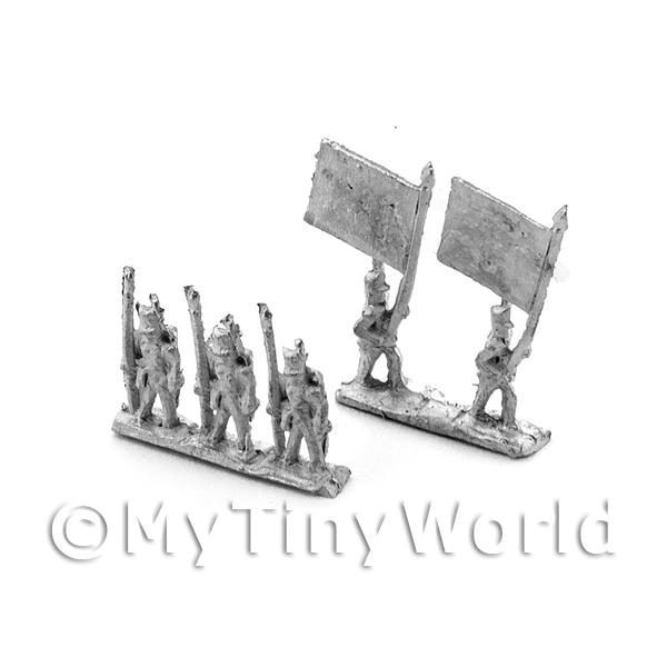 Dolls House Miniature  | Dolls House Unpainted British Infantry Flag Group